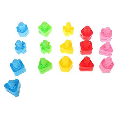 DealMux 32 piezas tornillos y tuercas Montessori bloques de construcción de tornillos bloques de inserción de plástico juguetes con forma de tuerca juguetes educativos niñas juguetes para bebés jugue