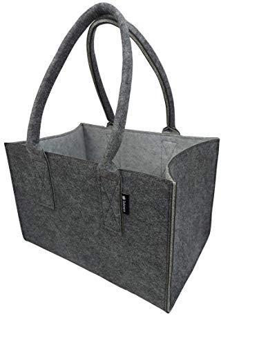 Shopper Filztasche Premium, große Einkaufs-Tasche mit Henkel, Einkaufskorb, faltbare Kaminholztasche zur Aufbewahrung von Holz, vielseitige Tragetasche auch zur Spielzeug Aufbewahrung, Dunkelgrau/Grau