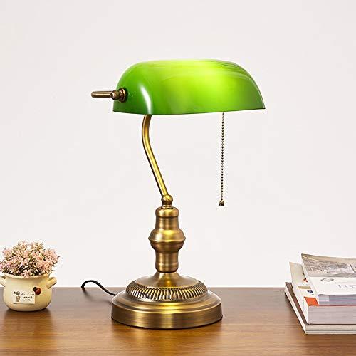 HMAKGG Vintage Verde Lámpara de Banquero, Metal Antiguo Lámpara de Escritorio, Ajustable Pantalla de Cristal, con Interruptor, E27