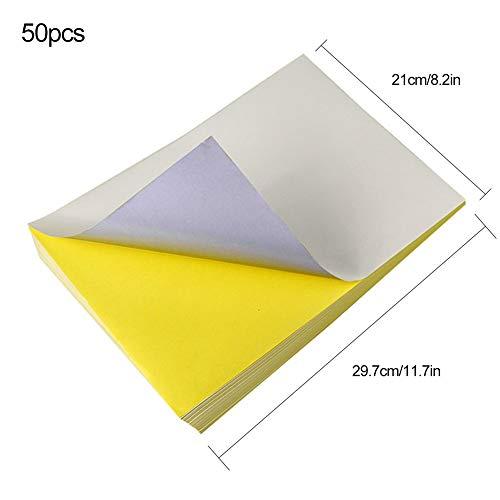 Papel adhesivo de vinilo para imprimir, 50 hojas de papel A4 para siluetas, impresora de inyección de tinta, autoadhesivo, color blanco, impermeable, diseño gráfico