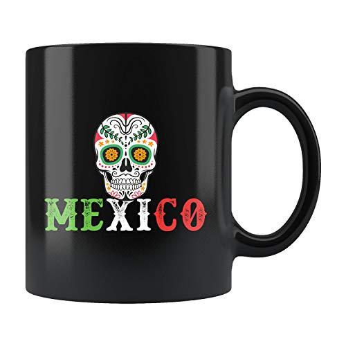 Taza de calavera de azúcar, taza de México, Día de los Muertos, Día de los Muertos, diseño de calavera mexicana Día de los Muertos, regalo de México, regalo de viaje, taza de cerámica de 325 ml