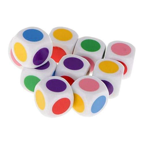 Colcolo 10 Piezas Nuevos Dados de Colores de 6 Caras para Juegos de , Niños,
