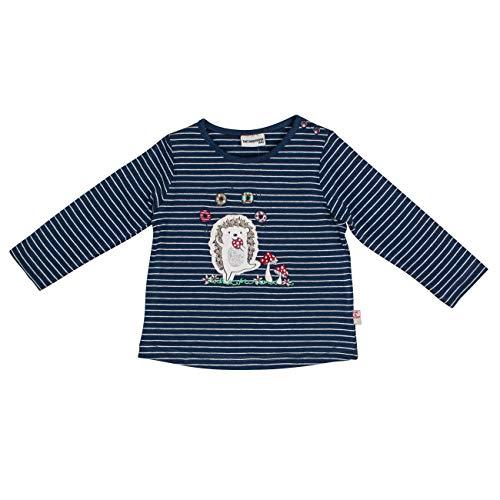 Salt & Pepper Baby-Mädchen Woodland Igel Pailletten Langarmshirt, Blau (Indigo Blue 429), (Herstellergröße: 74)