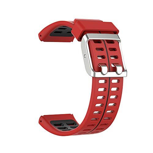 KINOEHOO Correas para relojes Compatible con Polar V800 Pulseras de repuesto.Correas para relojesde siliCompatible cona.(Negro rojo)