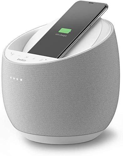 Belkin Altavoz Inteligente Hi-Fi + Cargador inalámbrico SoundForm Elite (Google Assistant, Bluetooth, Devialet), Blanco (Reacondicionado)