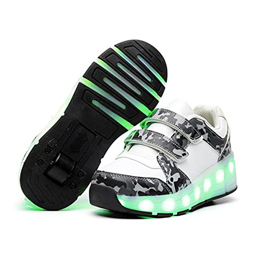 HANHJ LED-Kinderschuhe Blinkende Low Top USB Ladeschuhe Blinkende Unisex Kinder Einrad Blinkschuhe Blinkende Turnschuhe Für Jungen Und Mädchen,White-34