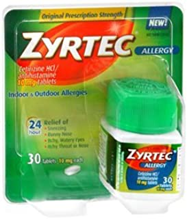Zyrtec 24 Hour Allergy Relief Tablets, 10 mg Cetirizine HCl Antihistamine Allergy Medicine, 30 ct