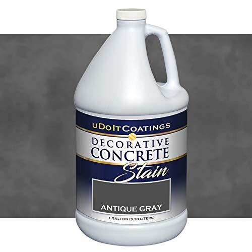 Decorative Concrete Stain. Industrial Quality, Eco-Friendly & Deep Penetrating. 18 Colors. Samples, How-to Videos & Customer Service Available. Indoor/Outdoor use. (1 Gallon, Antique Gray)