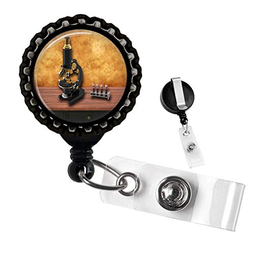 Vintage Microscope Black Retractable ID Tag Badge Reel by Geek Badges