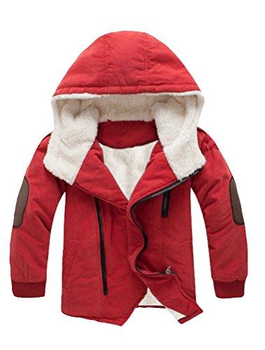 Mallimoda Boy's Thick Cotton-Padded Parka Jacket Hooded Fleece Coat Orange 9-10 Years