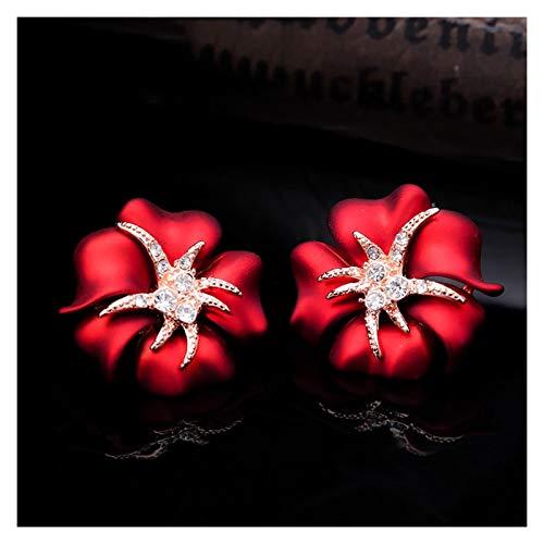 LDH Blue Flower Ear Clips Without Pierced Female Retro Temperament Earrings Clip-on Earrings European and American Fashion Earrings 2cm (Color : D)