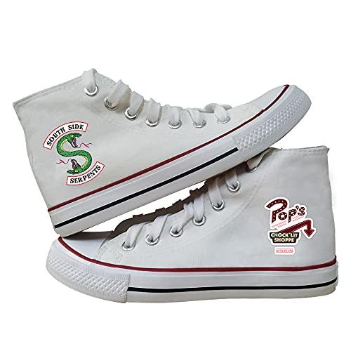 VSOO Riverdale Zapatos de Lona de Caña Alta con Cordones Calzado Casual de Moda Unisex Calzado Deportivo Antideslizante Resistente al Desgaste (Blanco/Negro)-5_41
