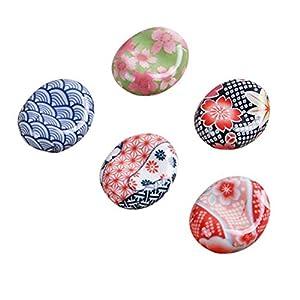 BESTONZON Palillos de cerámica Resto de estilo japonés Palillos Almohada Estante Cuchara Tenedor Cuchillo Tenedor 5pcs (patrón aleatorio)