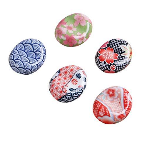 Bestonzon, 5 poggia bacchette in ceramica stile giapponese Sakura, supporto per bacchette, cucchiai, forchette e coltelli (motivo casuale)