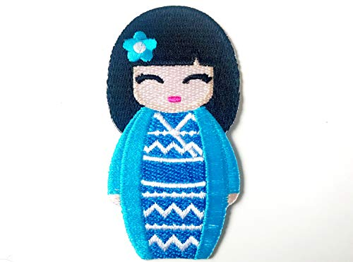 Cool Blue Color Japanese Kokeshi Doll Japan Vintage Cute Girl Jacket T-Shirt Sew Iron on Embroidered Applique Badge Sign Patch
