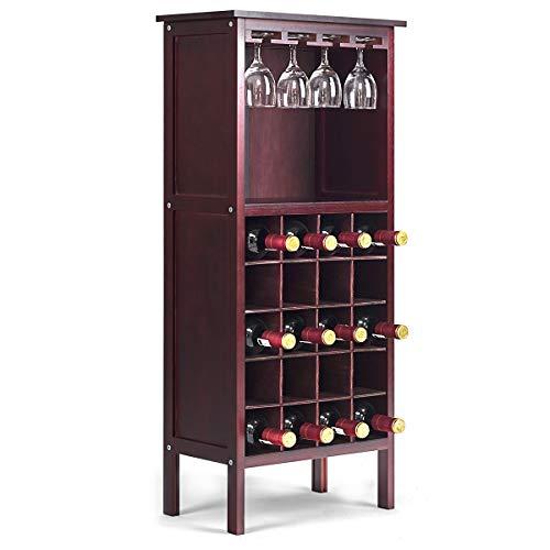 COSTWAY Weinschrank für 20 Flaschen, Weinregal Holz, Flaschenregal mit Glasaufhänger, Weinständer, Gläserregal für Küche, Bar, Flaschenständer 42x24,5x96cm(Weinrot)