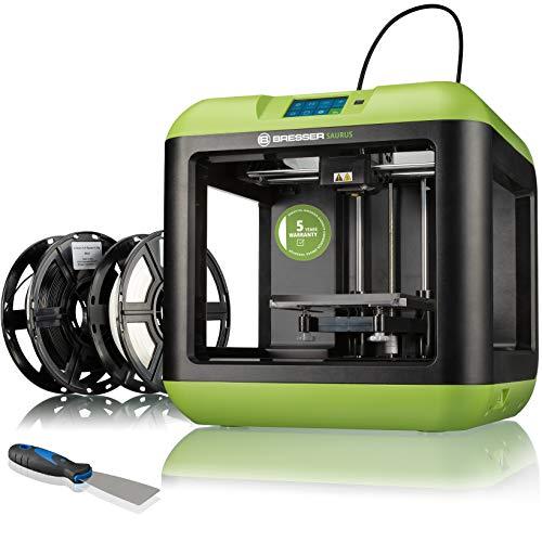 Bresser - Stampante 3D Saurus con Wi-Fi e filamento con alloggiamento aperto per PLA, ideale per principianti con istruzioni complete e software, verde, 420 x 420 x 420 x 420