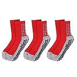 Toosell Non Skid Socks with Grips for Adults Elders Diabetic Hospital Socks Anti Slip Socks Slipper for Adults Men Women(Red)