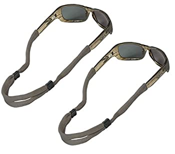 Chums No Tail Adjustable Cotton Eyeglass and Sunglass Retainer / Strap Gray / Grey  2 Pack
