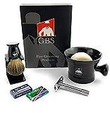 Best GBS Badger Shaving Brushes - GBS Men's Shaving Set - Black Ceramic Mug Review