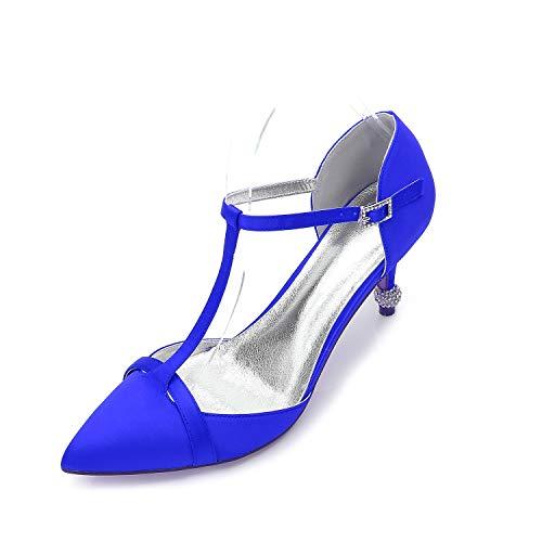 QZPM Mujer Dedo del Pie Puntiagudo Tacones De Aguja Zapatos De La Corte con Correa En El Tobillo para Fiesta De Bodas Zapatos De Novia,Azul,37 EU