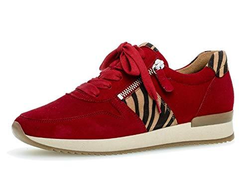 Gabor Damen Sneaker 33.420, Frauen Low-Top Sneaker,Halbschuh,Schnürschuh,Strassenschuh,Business,Freizeit,Rubin/Natur,40 EU / 6.5 UK