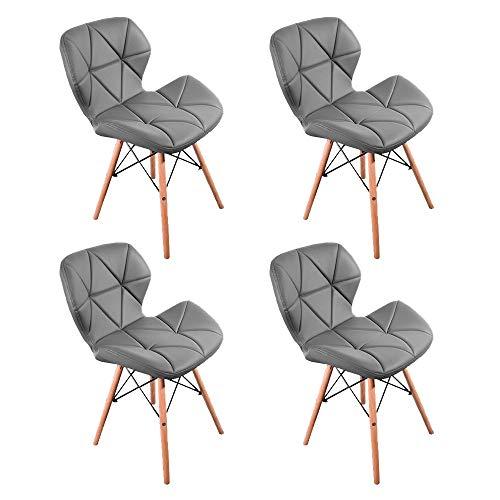 1 set di 4 sedie da pranzo in stile nordico medievale, gambe in legno di faggio, in pelle PU, staffa in metallo, stile retrò, adatte per cucina ristorante (grigio)