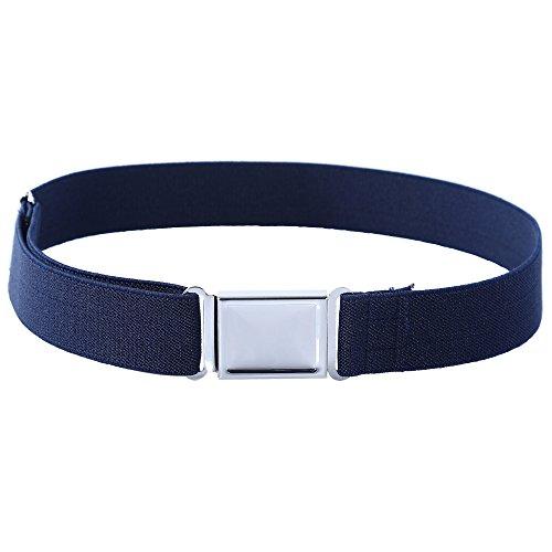 Kajeer Gürtel für Jungen Mädchen Verstellbar - Großer Elastischer Stretchgürtel mit einfacher Magnetschnalle für 2-15 jährige Jungen und Mädchen (Navy Blau)