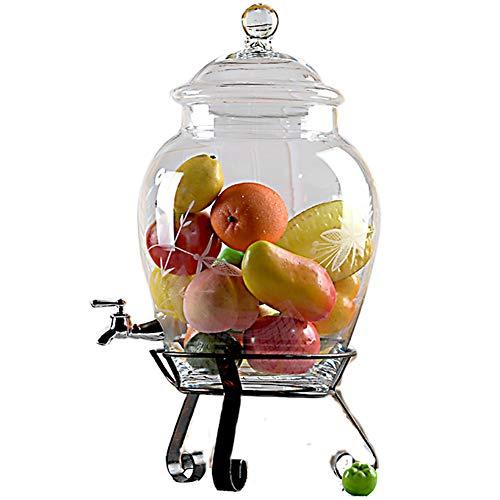 CSQHCZS-FQ Grote drank drank met wijde hals lekvrije spigot ijzeren standplaats voor limonade/thee/koud water ++