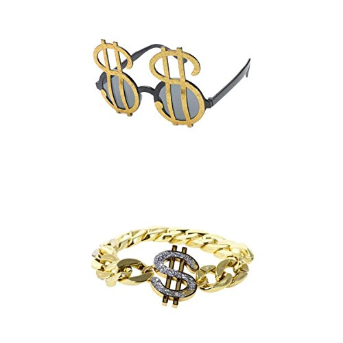 joyMerit 2pcs 80s Rapper Gangster Shining Gold US Dollar Signs Gafas de Sol Gafas Pulsera Hip Hop Cadena Cubana Bling Jewelry Hombres Accesorios