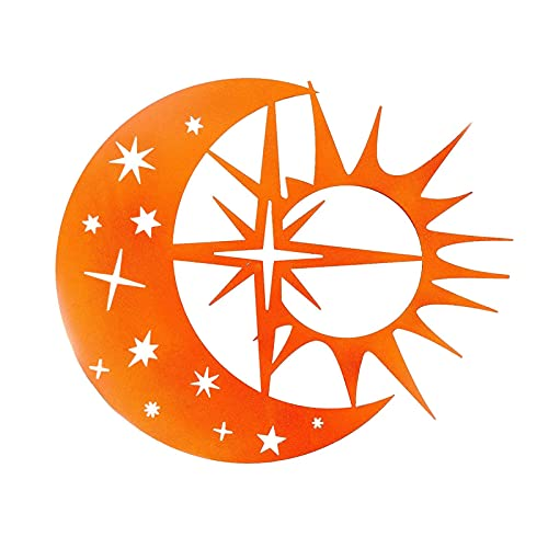 Metall Wandkunst Himmlische Sonne Mond Statue Hängende Ornament, Kreative Sonne Mond Statue Metall Wandkunst Dekoration Hängende Ornamente, Indoor Outdoor Garten Dekor/Metall Wandkunst