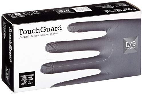 TouchGuard - Guantes de nitrilo negros desechables sin polvos ni látex, caja de...