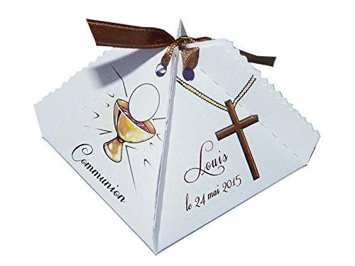 lot de 4 Boîte à dragées CALICE FLORETTE personnalisée avec votre photo et votre texte pour communion couleur or et mauve - ballotin à dragées design et moderne
