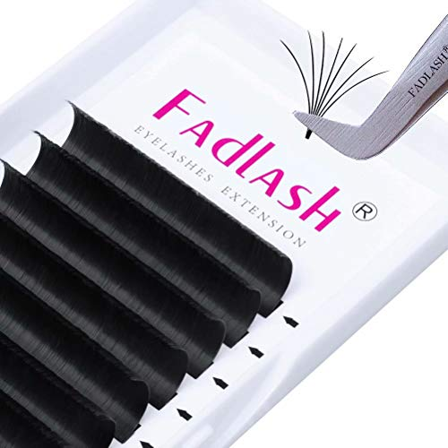 Easy Fan 0.05 DD Curl 9mm Volume Lashes Withstand 90℃ Easy Fan Russian Lashes 3D-20D Pre Made fans Volume Eyelash Extensions(0.05-DD-9mm)