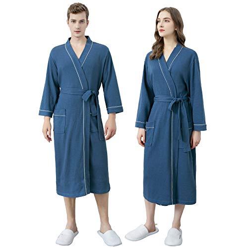 Xiang Ru - Albornoz para mujer, diseño de Kimono Algodón azul para hombre L