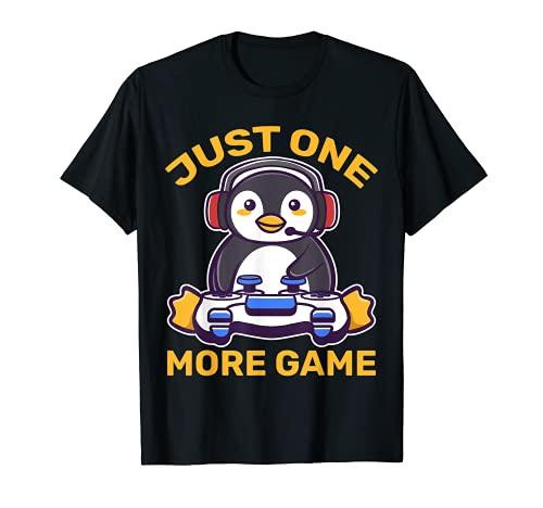 Just One More Game Penguin Gaming Kawaii Gamer Game Anime Camiseta