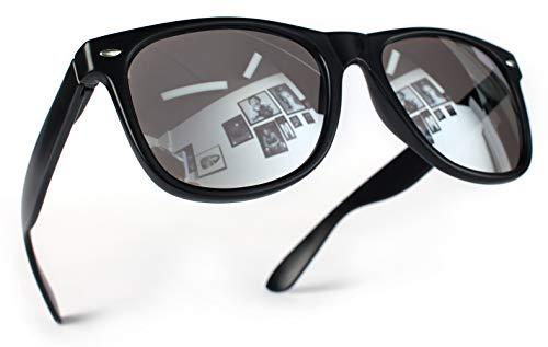 Miobo Hochwertige UV400 CAT 3 CE Nerd Sonnenbrille Retro Vintage, Brille für Damen Herren und Kinder (Damen und Herren, Schwarz Silber)