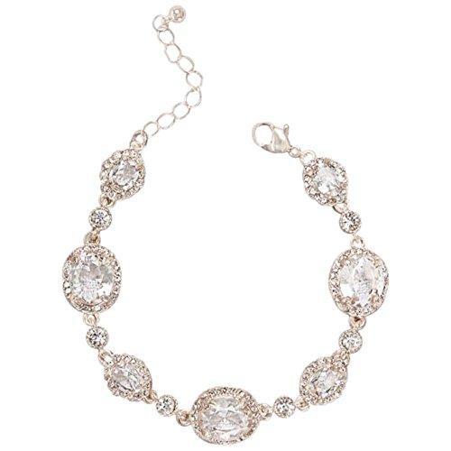 David's Bridal Faceted Bold Gem Bracelet Style 60145B, Rose Gold