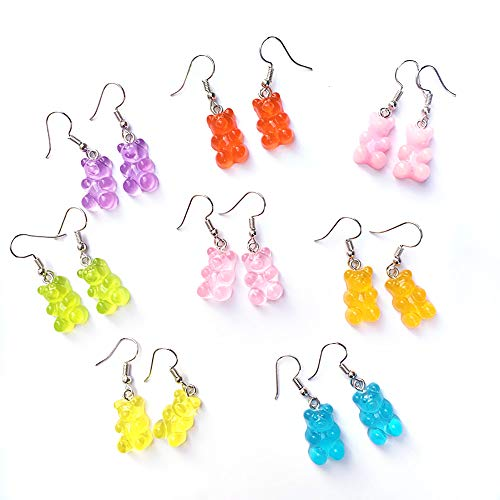 8 Pairs Bear Earring Set Cute Colorful Resin Candy Cartoon Drop Earring Party Favors Birthday Gifts for Girls Women (Style A)