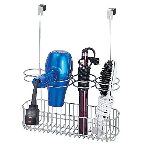 mDesign Soporte para secador de pelo sin taladro – Gran colgador de puerta para guardar el secador de cabello – Magnífico organizador de baño para secadores, planchas o rizadores – plateado