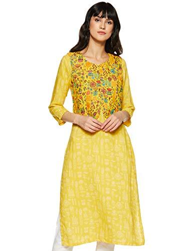 Rangriti Women's Synthetic a-line Kurta (RMMSUCCULEN2122_Yellow_L (36))