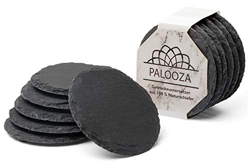 Palooza Premium Natur-Schiefer Getränke-Untersetzer für Gläser, Tassen etc. mit Gummi-Füßen für zusätzlichen Oberflächenschutz – 6 er Set, rund – 9 cm Durchmesser – schwarz | Mit kostenlosem E-Book