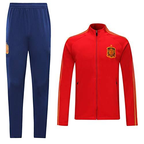 ZHWEI Traje entrenamiento de fútbol Club de adulto Camiseta de la Juventud de manga larga y pantalones de jogging BreathableTop QL0234 Traje Respirable (Color : Red, Size : L)