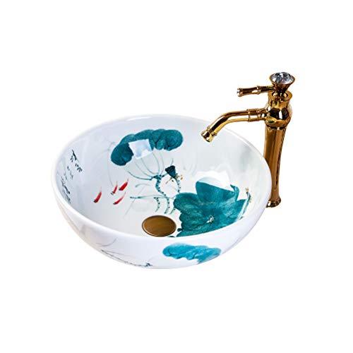 Keramik Runde Hand bemalt Mini Bühne Waschbecken Badezimmer Balkon Kunst Becken 35 cm Waschbecken Waschplätze