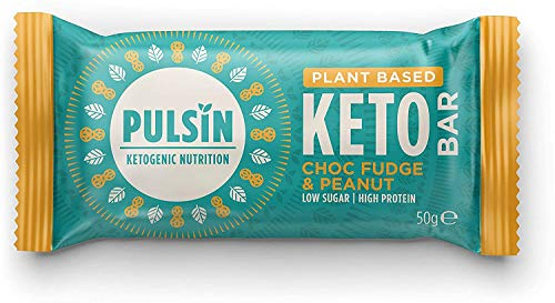 Pulsin Pulsin Keto Bar for Plant-Based Vegan Protein in Choc Fudge and Peanut Flavour, 50 g ,G0000892