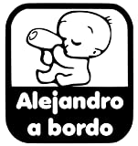 Pegatina Personalizada Vinilo Bebe a bordo + Nombre para Coche de CrisPhy (Blanco, 10x10cm)