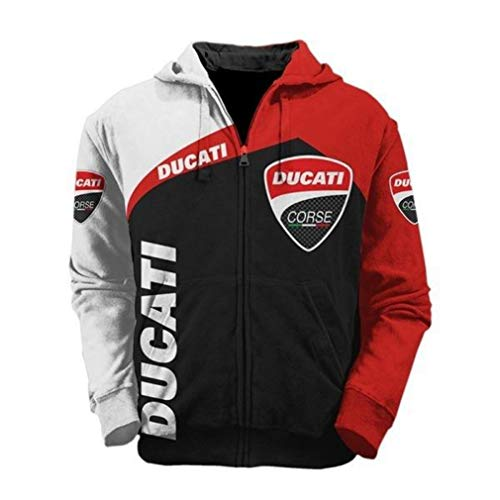 Cronell Story Herren Winter Außen Digitaldruck Ducati Auto Logo Jacke Baseball Uniform Fluganzug (1,XL)