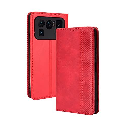 GOKEN Leder Folio Hülle für Xiaomi Mi 11 Ultra, Lederhülle Brieftasche Mit Kartensteckplätzen, Premium Flip PU/TPU Handyhülle Schutzhülle Hülle Cover mit Ständer Funktion (Rot)