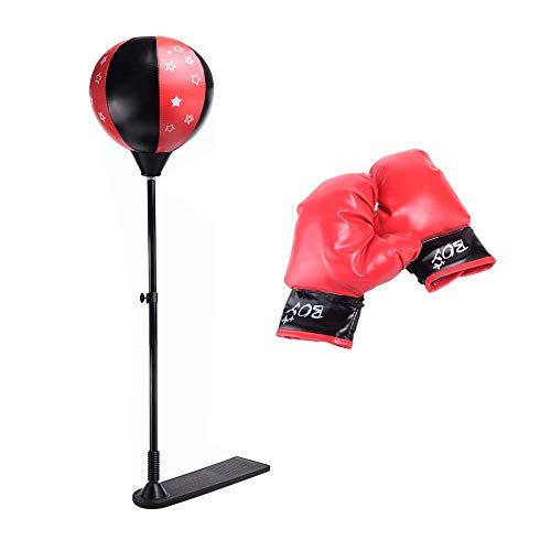 æ— Boxsack für Kinder, Box-Set beinhaltet Kinder-Boxhandschuhe und Boxsack, verstellbarer Boxsack mit Ständer, Kinder-Übung, Sportausrüstung für Boxen, Training, Stressabbau, Fitness
