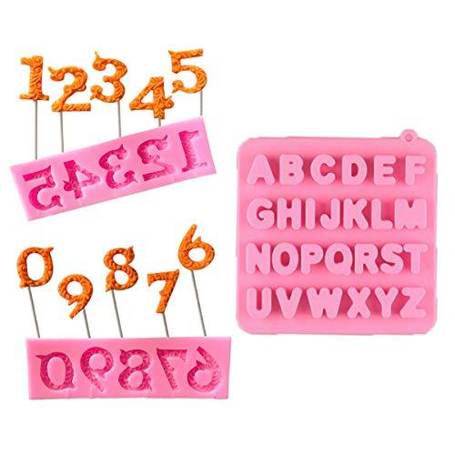 Molde 3D de silicona antiadherente, números de 0 a 9 y letras con 20 barras extra, para hacer alfabeto, fondant, decoración de tartas, chocolate, moldes de bricolaje, color rosa